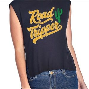 Tops - Sleeveless Graphic Tee Road Trippin